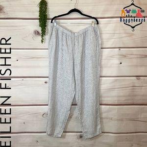 Eileen Fisher Organic Linen Club Check Pants L